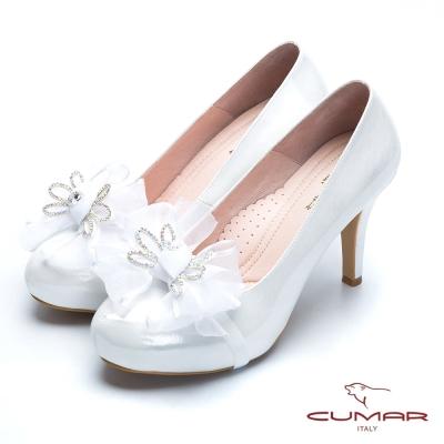 CUMAR新娘禮鞋 緞帶蝴蝶結高跟美鞋-白