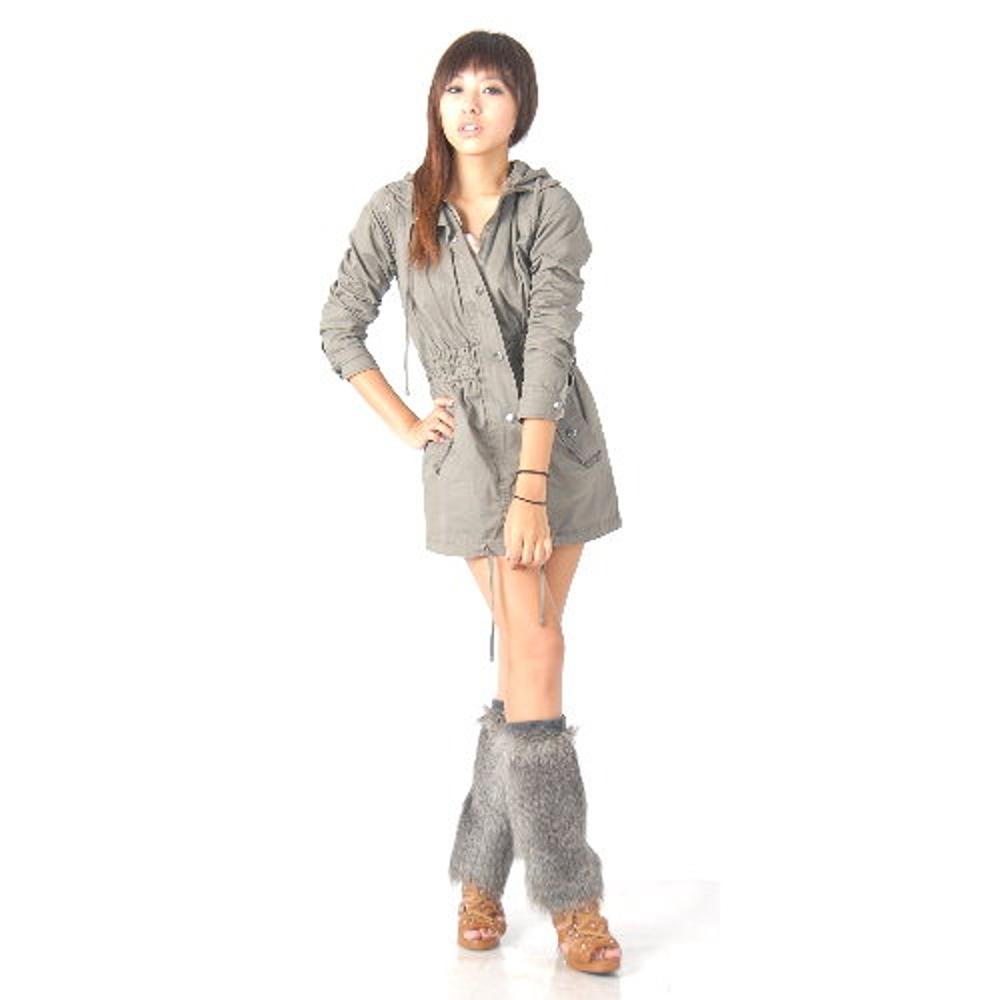 寒冬最熱夯品-日系長版毛絨保暖腿套(銀灰)