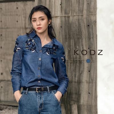 東京著衣-KODZ-歐美時尚丹寧系率性刺繡襯衫