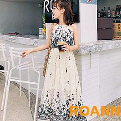 印花高腰吊帶裙 (花色)-ROANN