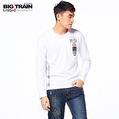 BIG TRAIN 軍事街頭半開襟長袖T-男-白色