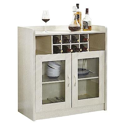 AT HOME-萊姆2.8尺白木紋酒瓶收納兩門餐櫃(85*40*80cm)