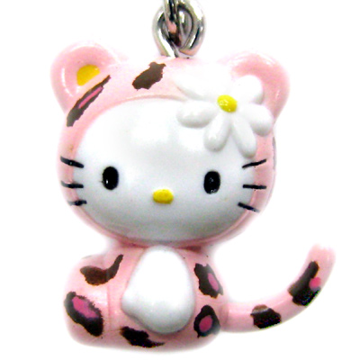HELLO KITTY粉紅豹紋手機吊飾附閃鑽3.5mm耳機孔通用型防塵防潮塞