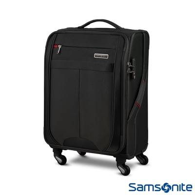 新秀麗-20吋高質感尼龍可擴充布面TSA登機箱-黑