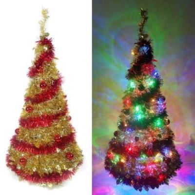 4尺(120cm) 彈簧摺疊金色聖誕樹(紅金裝飾色系)+100燈LED燈插電式(彩光)