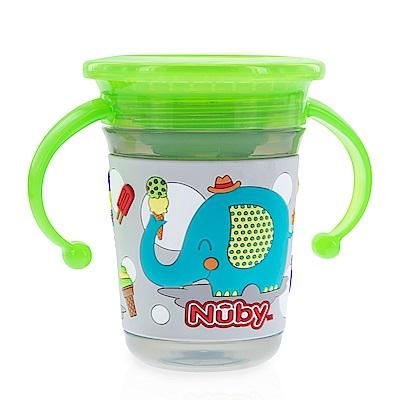 Nuby 3D 360度喝水杯240ml-灰象(6M+)