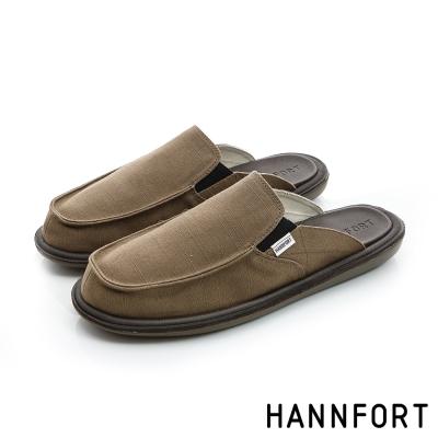 HANNFORT COZY可機洗平織布氣墊拖鞋-男-復古褐