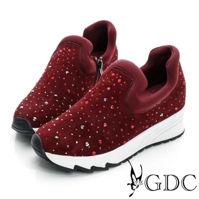 GDC舒適-絨面水鑽厚底真皮運動休閒鞋-紅色