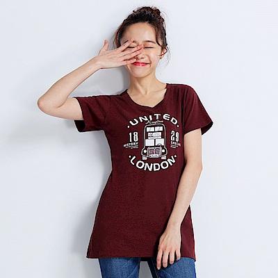 101原創 倫敦風短袖T恤上衣-暗紅