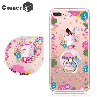 Corner4 iPhone8/7/6s/6 Plus奧地利彩鑽指環扣雙料手機殼...