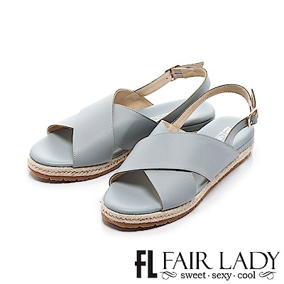 Fair Lady 交叉寬帶裝飾草編輕便涼鞋 藍