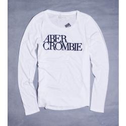 A&F Abercrombie & Fitch 大LOGO薄棉長袖T恤-白