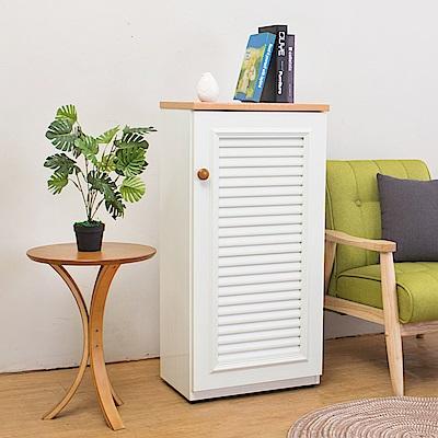 Birdie南亞塑鋼-1.6尺單門百葉塑鋼收納鞋櫃(白+木紋色)-49x35x100cm