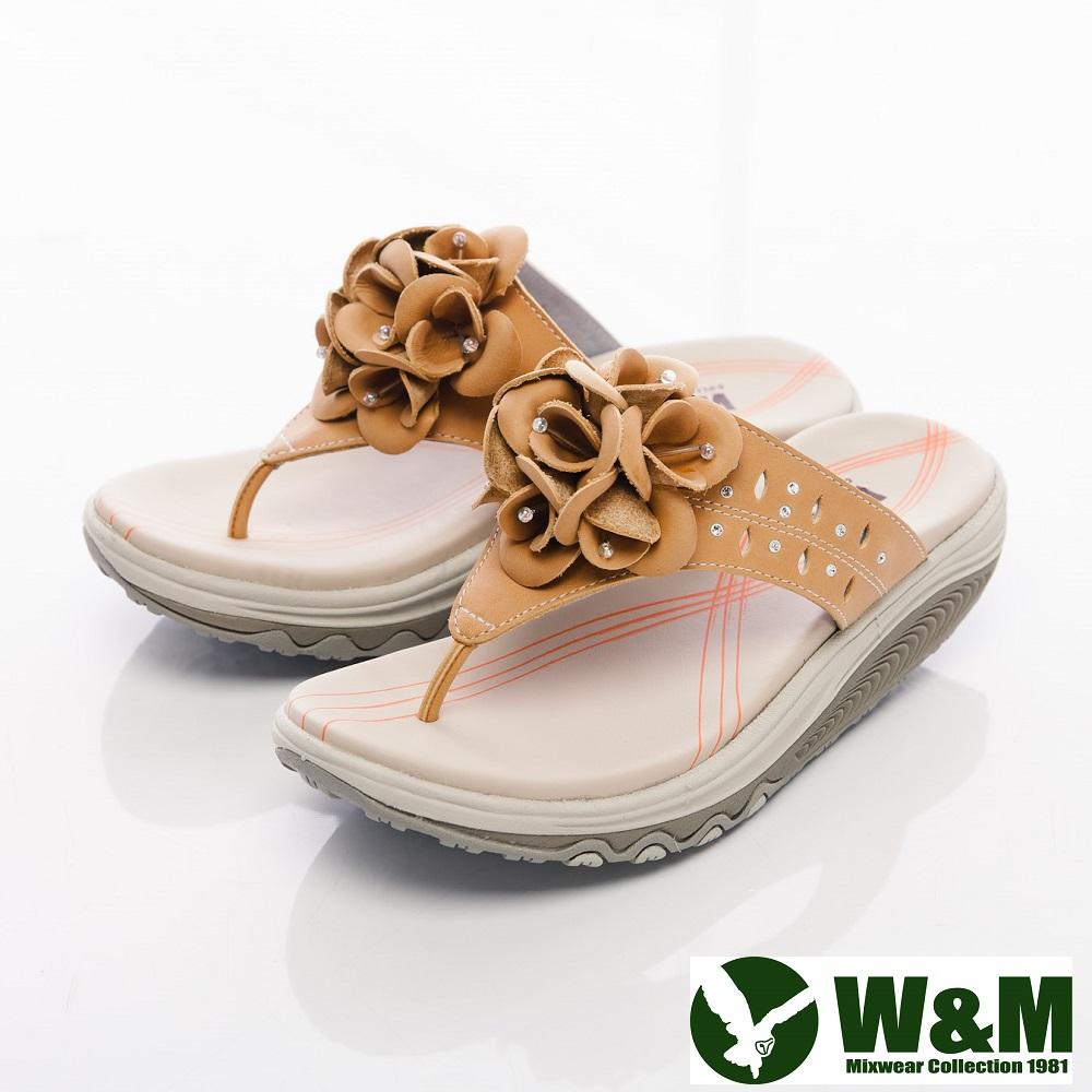 W&M 2014 FIT 鑽飾花造型健走族健塑鞋拖鞋女鞋-黃
