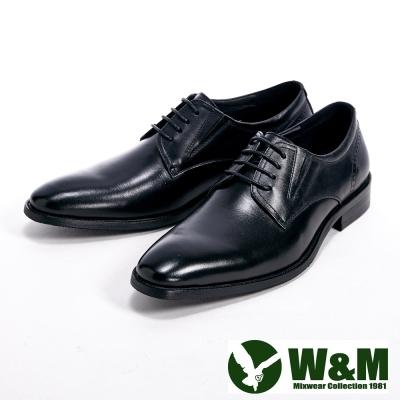 W&M 真皮時尚尖頭後壓紋德比鞋-黑