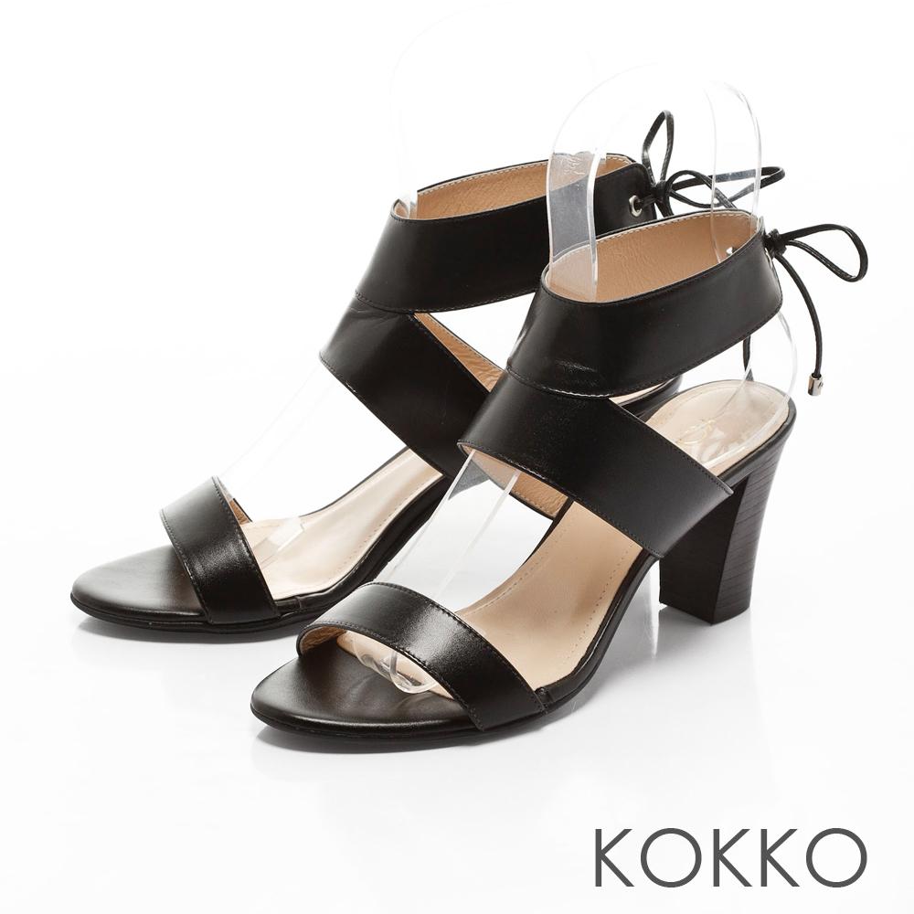 KOKKO-簡約率性寬帶真皮粗高跟涼拖鞋-黑