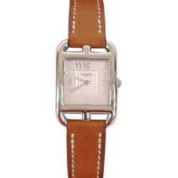 HERMES Cape Cod 愛馬仕小牛皮鋼框格紋錶面女仕腕錶錶(棕/21mm)
