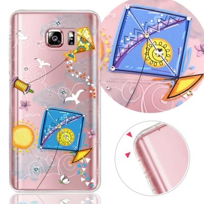 YOURS 三星 Galaxy Note5 奧地利水晶彩繪防摔氣墊手機鑽殼-晴空