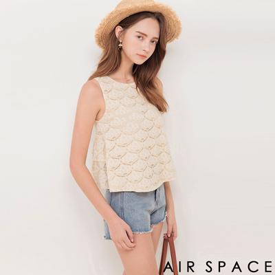 AIR SPACE 雙層荷葉襬蕾絲無袖上衣(杏)