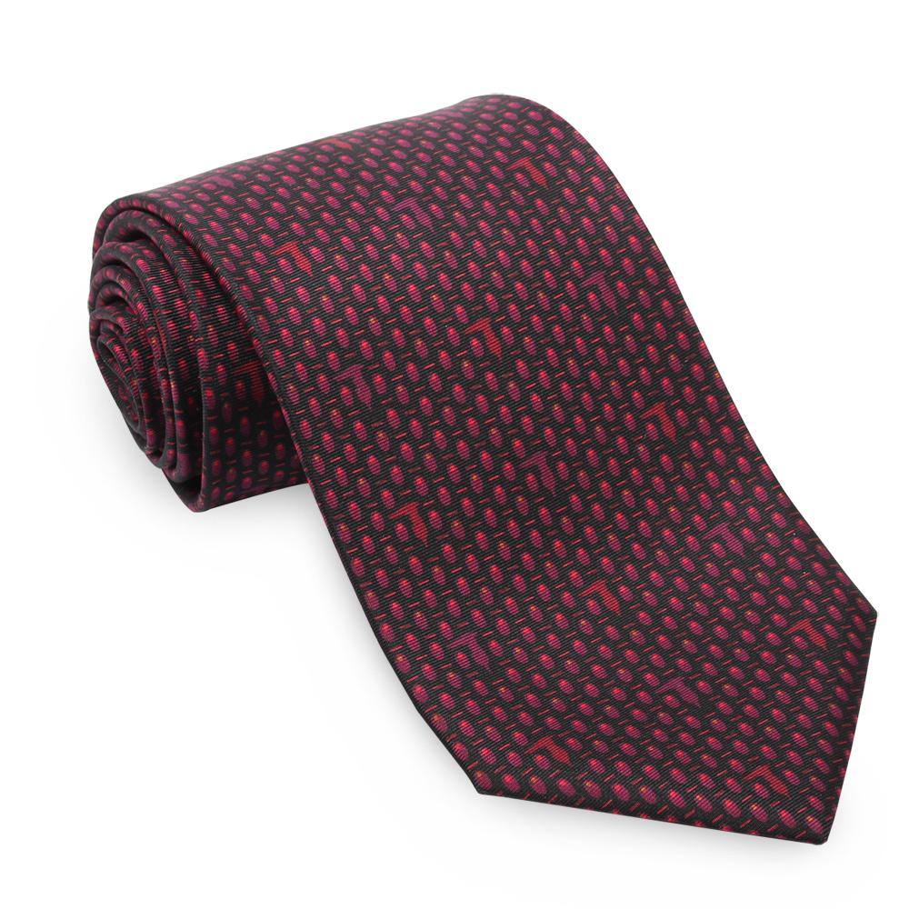 TRUSSARDI 小碎橢圓領帶-黑/紫