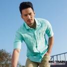 BIG TRAIN 棉麻素色襯衫-男-湖綠