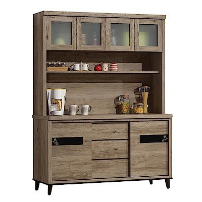 品家居 尼可夫5.1尺橡木紋高餐櫃組合-154x47x198cm免組
