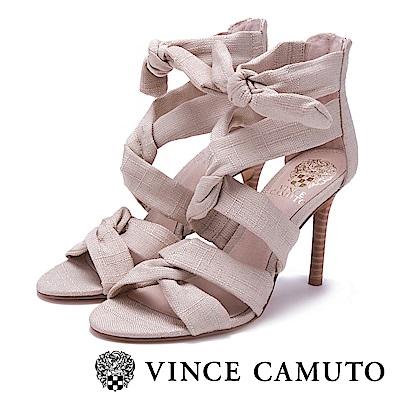 Vince Camuto 高雅布面交叉綁帶高跟涼鞋-米色