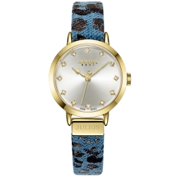JULIUS聚利時 甜心豹紋皮錶帶腕錶-淺藍/28mm
