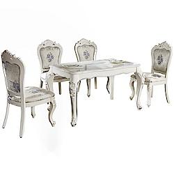 AT HOME-英式雕花白色石面餐桌椅組-一桌四椅(130*80*75cm)