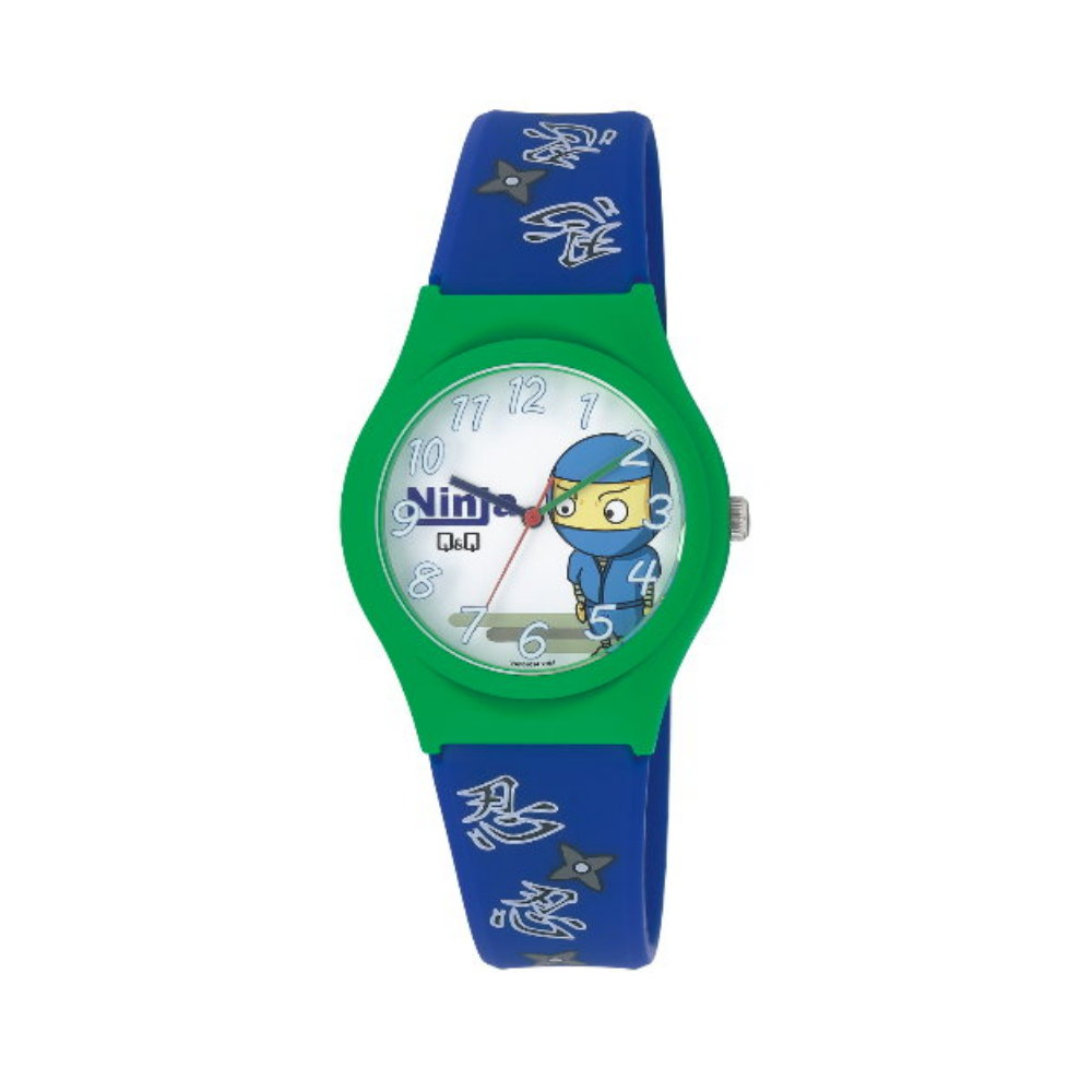 Q&Q 日系古城堡神秘忍法帖卡通腕錶-白x紅框/35mm