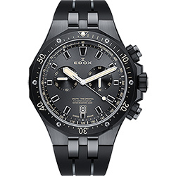 EDOX Delfin 水上冠軍專業200米防水計時碼錶-黑/43mm