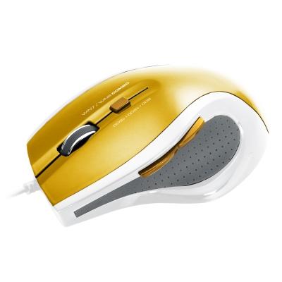 TCSTAR USB有線藍光光學滑鼠TCN187CG(金色)