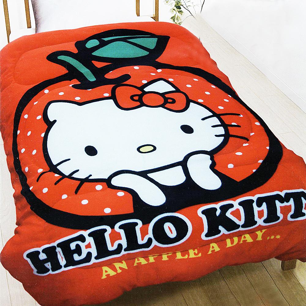HELLO KITTY 凱蒂貓 刷毛暖暖被 天天吃蘋果