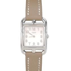 HERMES Cape Cod 愛馬仕小牛皮鋼框女仕腕錶錶(灰褐/21mm)