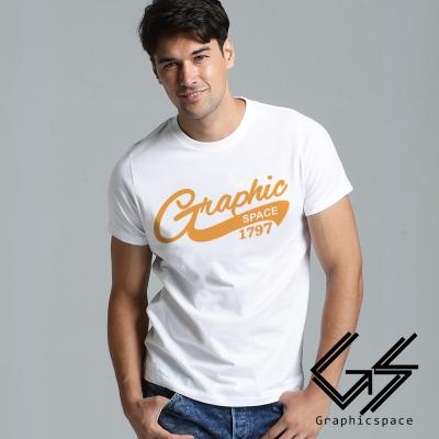 美式風格黃色草寫字型磨毛水洗T恤 (共二色)-GraphicSpace