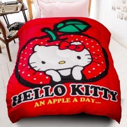 HELLO KITTY天天吃蘋果厚毯被