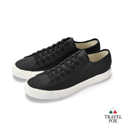 TRAVEL FOX(男) 低筒帆布休閒鞋-黑