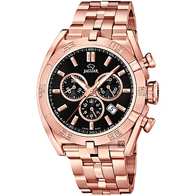 JAGUAR積架 EXECUTIVE 計時手錶-黑x玫塊金/45.8mm