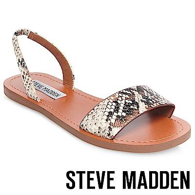 STEVE MADDEN-ALINAI-真皮素面一字帶涼鞋-白色