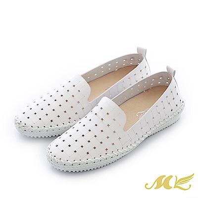 MK-台灣手作-編織鏤空馬克休閒平底懶人鞋-白色