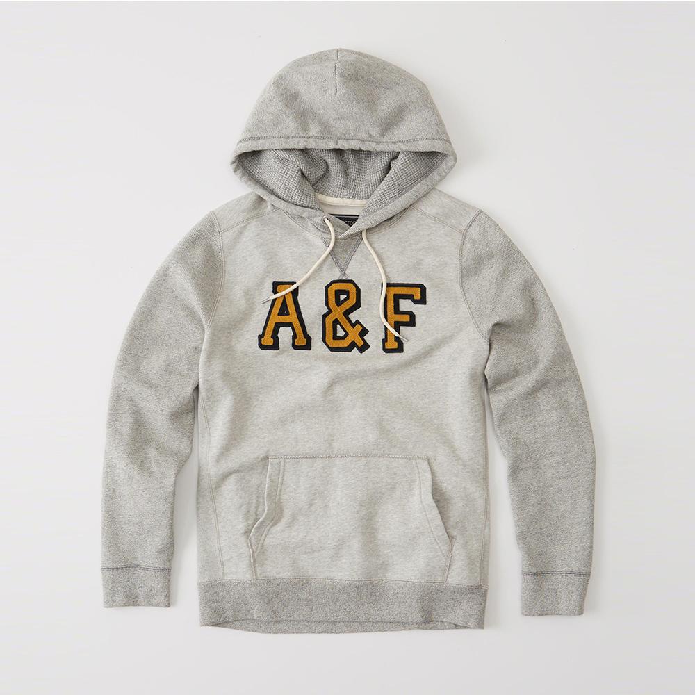 A&F 經典文字設計連帽T恤-灰色 AF Abercrombie