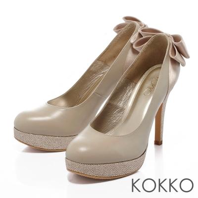 KOKKO台灣手工-紅毯吸睛焦點羊皮跟鞋-璀璨粉膚