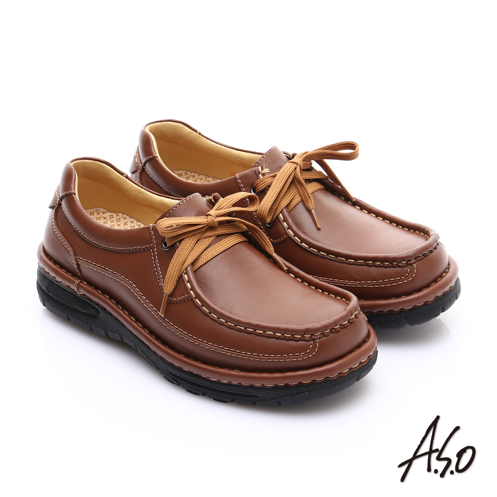 A.S.O 抗震雙核心 蠟感牛皮雙縫線綁帶奈米休閒皮鞋 茶色