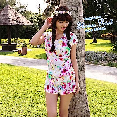 【AngelLuna日本泳裝】水彩風印花四件式比基尼泳衣-粉色