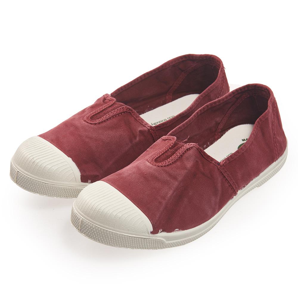 (女)Natural World 西班牙休閒鞋 刷色鬆緊基本款*紅色