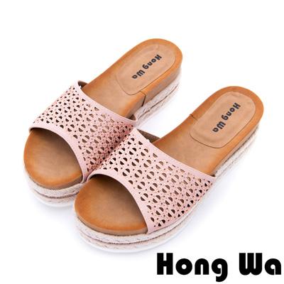 Hong Wa 夏日清涼水鑽沖孔厚底拖鞋-粉