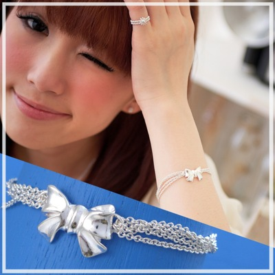 【維克維娜】淘氣公主。可愛蝴蝶結多鍊設計 925純銀手鍊