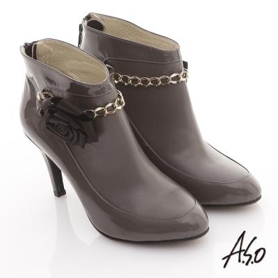 A.S.O 機能美靴 全真皮花朵金鏈奈米踝靴 灰