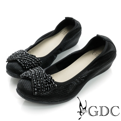 GDC都會-水鑽柔軟亮片楔型真皮低跟鞋-黑色