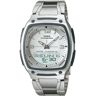 CASIO 都會風雙顯商務不鏽鋼帶錶(AW-81D-7A)-銀白/38.6mm